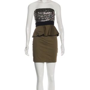 NWT Alice and Olivia Sequin Mini Dress Green Sz 6